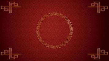 Gold circle on red paper and Asian elements with craft style on background for Chinese Happy New Year concept