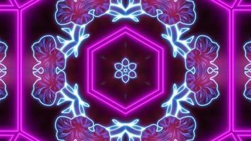 Fondo de mandala caleidoscopio de neón abstracto video