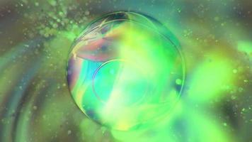 fundo verde neon abstrato com esfera giratória