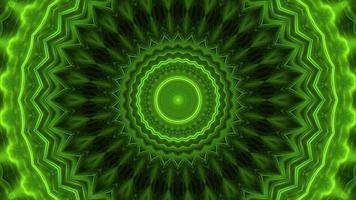 Fondo de mandala de caleidoscopio de neón verde abstracto video