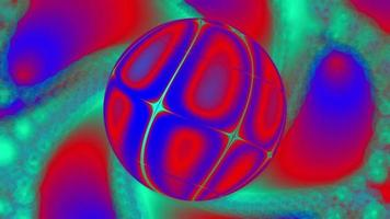 Abstract Red-Green Neon Background with a Rotating Sphere