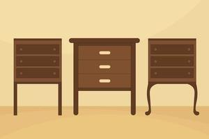 Bedside Tables Illustration With Three Style vector