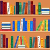 Bookshelves Library With Colorful Books vector