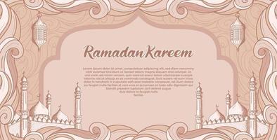 Ramadán Kareem con mezquita islámica dibujada a mano y fondo de ilustración de linterna vector