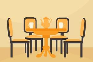 mesa de cocina y 4 sillas vector