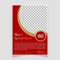Red color food menu brochure template vector