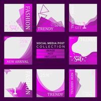 colección de plantillas de publicaciones de redes sociales de estilo de moda vector