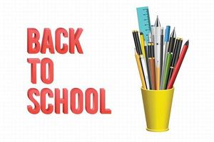 Back to school background with pens and pencils vector