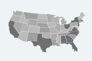Grey Usa Map Background vector