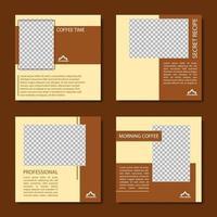 colección de plantilla de publicación de redes sociales de cafetería vector