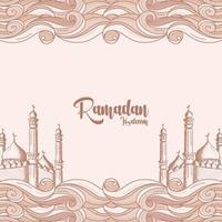 Ramadán Kareem con fondo de ilustración de ornamento islámico dibujado a mano vector