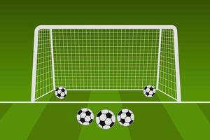 Football Net With Soccer Balls vector