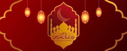 Ramadán Kareem con adornos de oro. vector