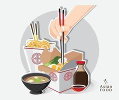 comida china para llevar caja, caja para llevar fideos, ilustración vectorial vector