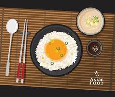 Delicioso tamago kake gohan, arroz con huevo crudo y sopa de miso con tofu, ilustración vectorial vector