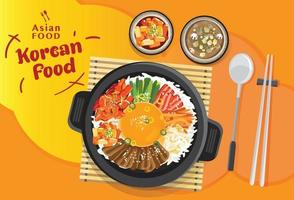 Korean cuisine Bibimbap set, Rice mixing with various ingredients in black bowl, top view vector illustration