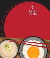 Delicious Tamago Kake Gohan, Rice with raw egg and Miso soup with tofu,Vector illustration vector
