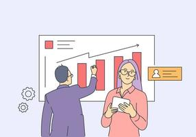 Analytics, statistics, planning, business partnership concept. Young man and woman, businessman conduct analysis, development strategy, improvement together. vector