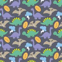 cute dinosaurs pattern design vector. Dinosaurs Cute kids pattern for girls and boys, Colorful Cartoon Animals on the abstract Creative seamless background, Artistic Backdrop for textile and fabric. vector