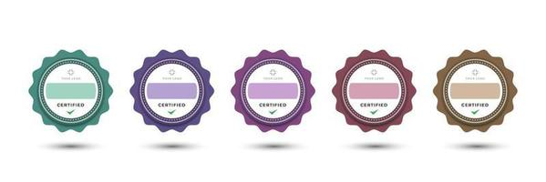 diseño de logotipo de insignia para empresa de negocios estilo floral redondeado decorativo femenino. conjunto de paquetes certificar ilustración vectorial pastel colorido. vector
