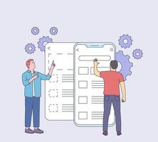 Development, prototyping, testing of mobile user graphic ux disassembled interface concept. Usability testing mobile screen with people man. Development software application ui and ux interface page. vector