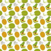 pattern background with fruit elements, watermelon, banana, mango. hand drawn seamless fruit pattern vector