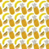 seamless wrap pattern with fruit pineapple, banana, orange . Seamless pattern with fruit background. Vector illustrations for seamless wrap design.