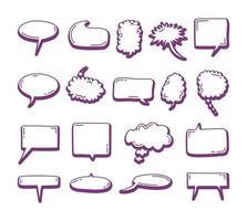set of Speech bubble element doodle trendy. Doodle speech bubbles. Hand drawn elements for quotes and text vector