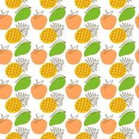 seamless wrap pattern fruit element. Elegant seamless pattern with orange, mango, pineapple fruits design elements. Fruit pattern for invitations, cards, print, seamless wrap, manufacturing, textile, fabric, wallpapers, caffe menu. vector