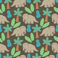 lindos dinosaurios y plantas tropicales. divertidos dibujos animados dino de patrones sin fisuras. diseño de doodle de vector dibujado a mano para niños. patrón infantil dibujado a mano para ropa de moda, camisa, tela