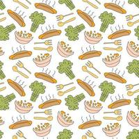 pattern seamless with breakfast kids doodle element. seamless pattern of colorful breakfast icon, vector illustration