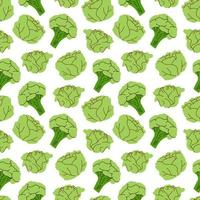 Seamless pattern vegetables with elements of broccoli, cabbage. Vector illustration