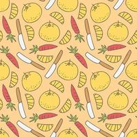pattern seamless with knives and food kids doodle element vector