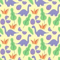 Cute dinosaurs and tropic plants. Funny cartoon dino seamless pattern. Hand drawn vector doodle design for girls, kids. Hand drawn children's pattern for fashion clothes, shirt, fabric
