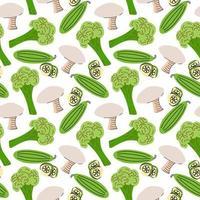 patrón transparente con champiñones, rodajas de pepino, brócoli sobre un fondo blanco. Ilustración vectorial de ingredientes para el fondo de los alimentos en un estilo de dibujo plano. vector