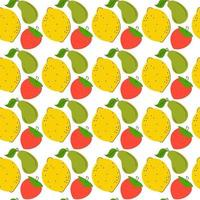 pattern seamless three element fruits. Colorful Fruity and tasty Sweets and candies. lemon, avocado, strawberry Vector Trendy illustration. Cartoon style. Set of three Seamless Patterns. Background, Wallpaper.