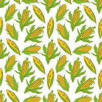 vector de fondo de patrón transparente de vector de maíz. Fondo para menú, embalaje, envoltorios, impresiones de cocina, tienda de especias.