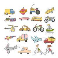 set of element doodle transport colorful kids Hand drawn Sketch doodle vector line color icons. Transport element icon set on white background