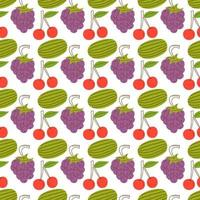 fruit pattern with colorful, watermelon, cherries, grapes. Hand drawn various tasty juicy fruits. Trendy illustration. Flat design. Cartoon style. Colored vector seamless pattern. Black background