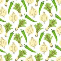 vegetable pattern with composition onions, garlic, chili peppers element. Perfect for food background, wallpaper, textile. Vector illustration