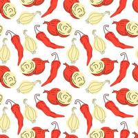 Seamless pattern vegetables with elements of onions and red chilies, Shallot. Vector illustration
