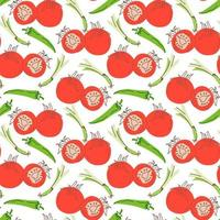 vegetable pattern with composition chilies, lemongrass, tomatoes element. Perfect for food background, wallpaper, textile. Vector illustration