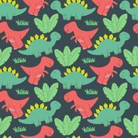 lindo diseño de patrón de dinosaurios. Ilustración de vector de patrones sin fisuras con dinosaurios