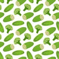 vegetable pattern with composition broccoli, cucumber element. Perfect for food background, wallpaper, textile. Vector illustration