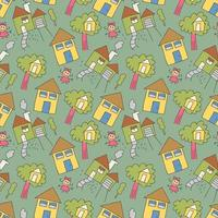 pattern seamless houses with girl doodle element. seamless doodle family pattern vector