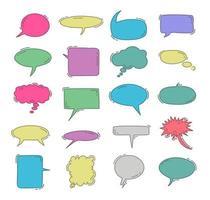 lindo discurso burbuja doodle conjunto vector