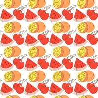Seamless pattern with fruit background element watermelon, orange, cherry. hand drawn seamless fruit pattern vector