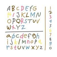 conjunto de elementos de dibujo alfabeto infantil colorido. dibujo infantil de la fuente del alfabeto hecho con crayones de cera. ilustración vectorial. vector