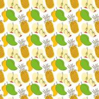 pattern background with three colorful fruits. Tropic summer seamless pattern with pineapple, mango, apple vector