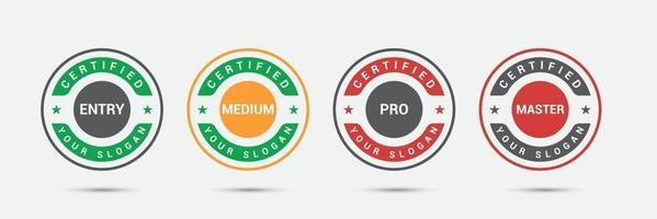 Professional business certified logo badge. Certification exam candidates label icon template. Vector illustration.